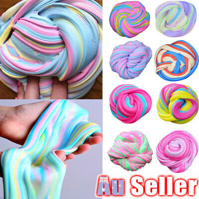 AU8.15 • Buy Colorful Fluffy Unicorn Stress Relief Toy Rainbow Slime Floam Strechy Slimes