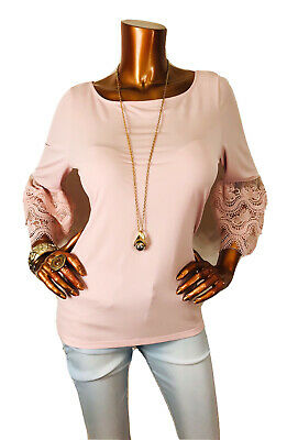 $ CDN26.59 • Buy Ivanka Trump M Top Stretch Blush 3/4 Bell Sleeves Blouse Shirt Lace Embroidered