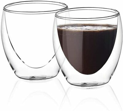 £14.99 • Buy Amisglass 2pc Coffee Glasses Mugs Set Double Wall Insulated Espresso Cups 200ml