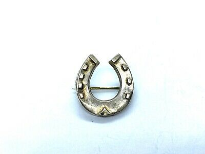 Small Antique 1890's Victorian Sterling Silver Lucky Horseshoe Brooch Lace Pin • 40£