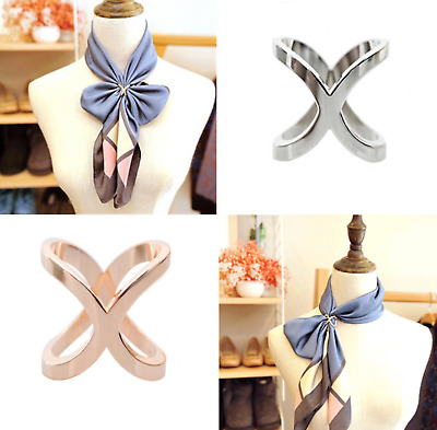 £2.99 • Buy Fashion Scarf Ring Gifts Women Solid Buckle Brooch Clips For Silk Scarves