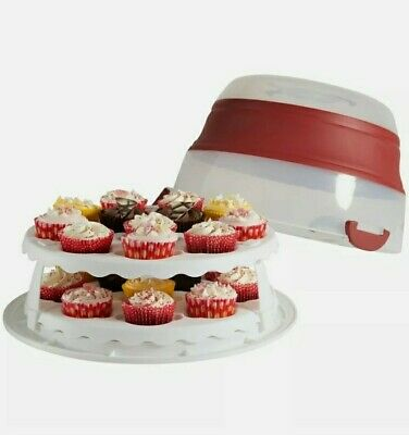 Portable Cupcake Cake Box Round Tub Carrier Storage Container  • 25£