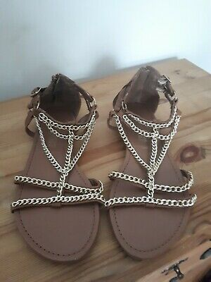 New Look Tan And Gold Gladiator Style Sandals Size 5 (38) • 5.95£