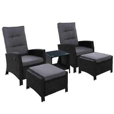 AU761 • Buy Gardeon Outdoor Patio Furniture Recliner Chairs Table Setting Wicker Lounge 5pc