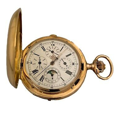 £10018.89 • Buy Quarter Repeater Chrono Annual Calendar Moon Phase 18K Yellow Gold Pocket Watch