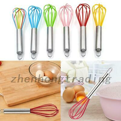 AU6.99 • Buy Silicone Mini Whisk Eggbeater Stainless Steel Utensil Kitchen Baking Tool New