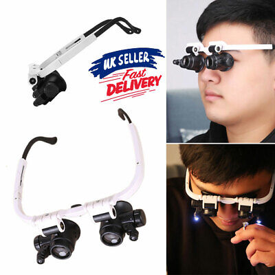 £6.65 • Buy Magnifying Glass 2LED Lamp Head-Mounted Jeweler Magnifier Loupe Watchmaker Light