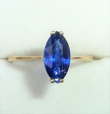 £149.99 • Buy 9ct Gold Marquise Royal Blue Spinel Soltaire Ring, Size O
