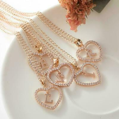 £2.99 • Buy Ladies Rose Gold Silver Love Heart Initial Alphabet Letter Cubic Chain Necklace