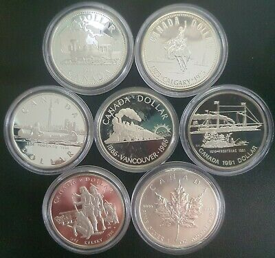 £160 • Buy 7 Canadian Silver Dollars, Proof Finish In Protective Capsules.
