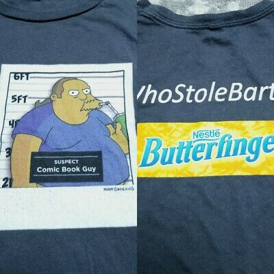 £17.73 • Buy The Simpsons Comic Book Guy Mugshot Butterfinger Candy Movie Promo T Shirt Large
