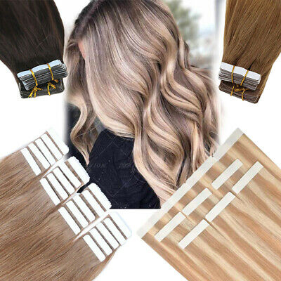 £25.33 • Buy Invisible Russian Tape In Remy Human Hair Extensions Skin Weft 100PCS FuLL Head