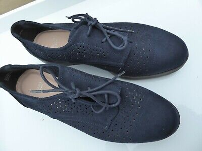 Bnwt Ladies Evans Flat Navy Faux Leather Shoes Called Roly Size 8 Extra Wide Fit • 6£