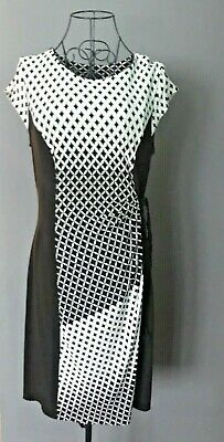 Just Taylor Shift Dress Size 10 Black White Diamond Tie Waist Occasion Work • 4.99£