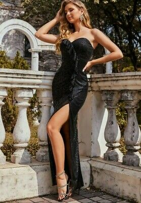 £51.76 • Buy Womens Gown L XL 10 NWT New Sequin Long Dress Strapless Sexy Black Maxi Pagent