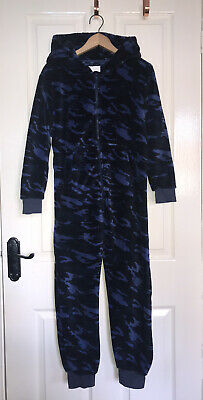 NEXT Blue Army Camo Super Soft Fleece Hooded All In One Pyjamas Age 9 • 10£
