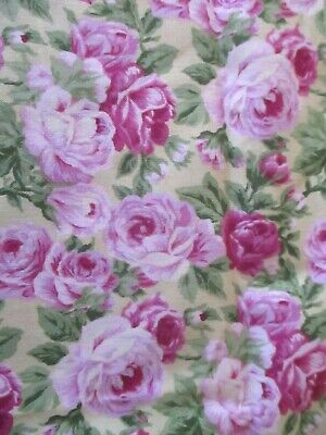 Vtg  Fabric Hoffman Floral Print Fabric PETALS FROM THE PAST Cabbage Roses 2 Yds • 10.72£