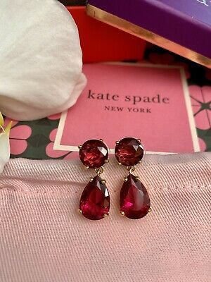 $ CDN56.85 • Buy RARE Kate Spade PLAZA ATHENEE BERRY RUBY PINK DANGLE DOUBLE DROP EARRINGS