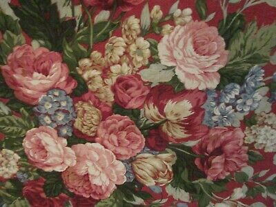 Western Textile Fabric Burgundy Roses 100% Cotton Chintz Shabby Cabbage Roses • 35.05£