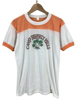 $ CDN109.17 • Buy Vintage 70's Camp Beverly Hills Soft 50/50 Ringer T-Shirt Medium