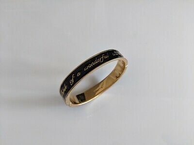 £12.95 • Buy Disney Couture Black And Gold Hinged Bracelet Bangle 'Think A Wonderful Thought'