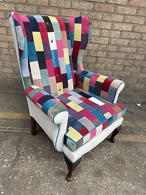 £425 • Buy Sherborne Wing Back Chair Newly Upholstered In Patchwork Design