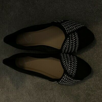 Evans Black Beaded Shoe- Size 10 • 0.99£