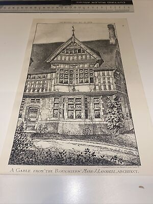 £12 • Buy 1885 Antique Architecture Building News Gable Roughters Lansdell