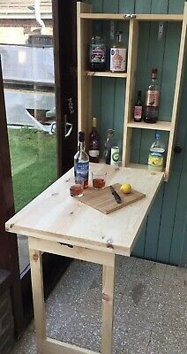 £159 • Buy Wooden Outside Wall Hung Bar With Drop Down Legs Ideal For Beer, Wine And Gin.