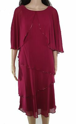 AU1.28 • Buy SLNY Women's Shift Dress Raspberry Red Size 10 Tiered Embellished $119 #670