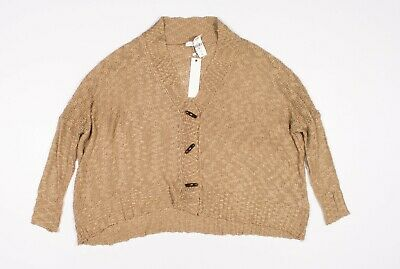 $30.01 • Buy New Millau Latte Brown Knit Oversized Button Cardigan Sweater Size OS One Size