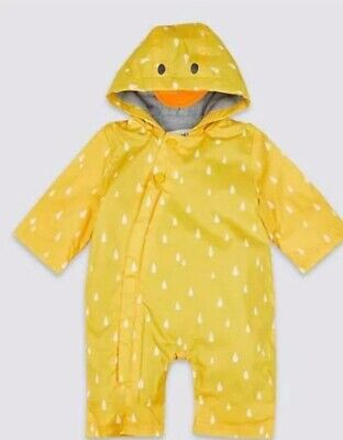 £15.99 • Buy M&S YELLOW DUCK  Fleece Lined  Puddlesuit Snow Suit Age 0-3 Months