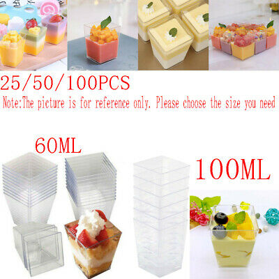 £9.99 • Buy 25-100x Square Dessert Cups Cube Plastic Clear Mousse Cup Birthday Party Decor