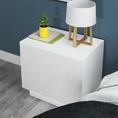 £54.99 • Buy Modern Bedside Table High Gloss W/2 Drawers RGB LED Nightstand Bedroom Furniture