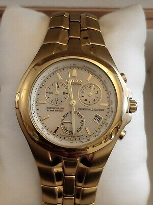 £125 • Buy Limited Edition Citizen Eco Drive Perpetual Chronograph  E812-k001536 Gold Watch