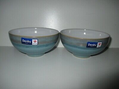 £36.50 • Buy Denby Pottery Azure Coast 2 X Rice Bowls New First Quality Excellent Condition