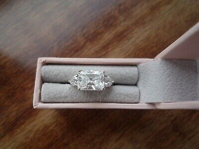 $ CDN24.79 • Buy QVC Diamonique SS 3 Stone / Trilogy East West Ring Size K Radiant Cut With Box