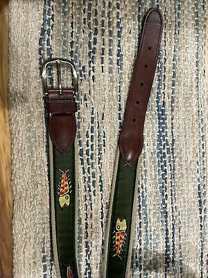 $24.99 • Buy The Belted Cow Co. Eric Hopkins Yarmouth Maine  Green Fish Belt Men's Size 40