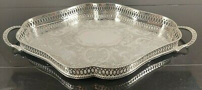 £79 • Buy An Antique Chased  Silver Plated Gallery Tray By Viners Of Sheffield,rare Shape.