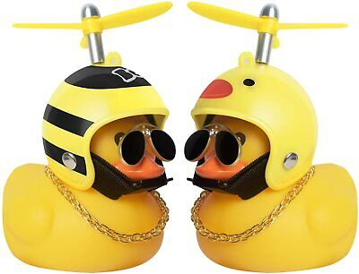 £4.29 • Buy Rubber Duck Car Dashboard Ornaments With Propeller Helmet Sunglasses Gold Chain