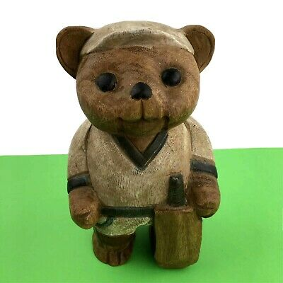 £23.97 • Buy Wooden Hand Carved Teddy Bear Sculpture Wood Cricket Painted Ornament Figure Dec