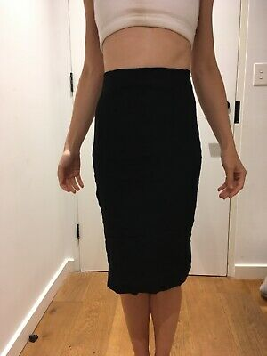 AU15 • Buy Scanlan Theodore Blue Textured Fitted Bodycon Pencil Skirt 8-10