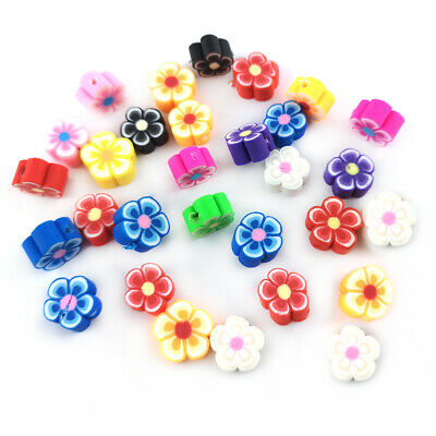 £2.49 • Buy Mixed-Colour Polymer Clay Beads Flower 8.5mm X 4.5mm Pack Of 30