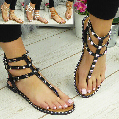 £12.95 • Buy Ladies Strappy Sandals Womens Flats Toe Post Summer Comfy Gladiator Shoes Size