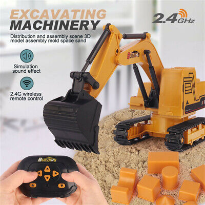 Remote Control 6 Function Excavator,RC Bulldozer Truck Toy Digger Car Buggy Gift • 0.01£