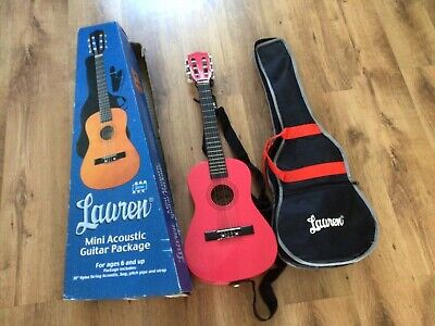 £22 • Buy Childrens Pink Lauren Acoustic Guitar + Case- Plus Strap Made In China