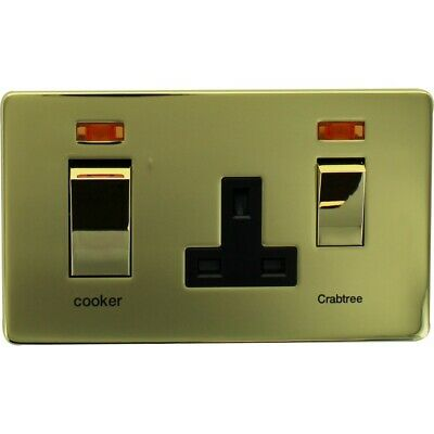 £4.99 • Buy Crabtree 7521/3PB 45A Screwless Switched Socket Cooker Control Unit, Brass
