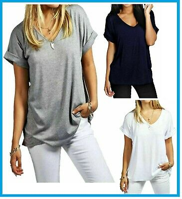 £7.49 • Buy Women Ladies Oversized Baggy Loose Fit Turn Up Batwing Sleeve V Neck T Shirt Top