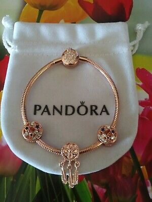 AU136.28 • Buy Authentic Pandora Rose Bracelet With Rose Gold Colored European Charms