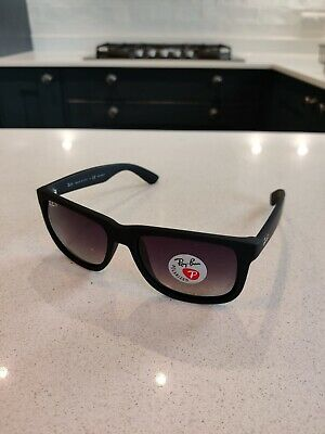 AU55.46 • Buy Ray Ban Justin Wayfarer Sunglasses (Polarised) - Black Frames
